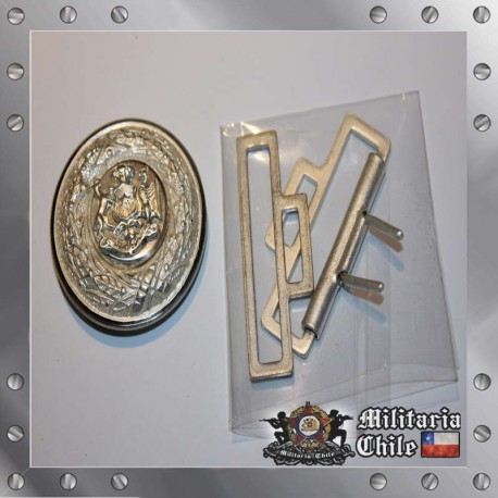 Hebilla Cinturon Caballeria Oficial Ejercito de Chile Plateado