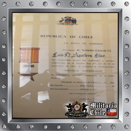 Diploma condecoracion militar firmado por Pinochet military certificated signed by Pinochet